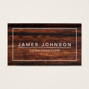 Construction business cards 4400 construction business card templates modern minimal dark wood construction business card wajeb Gallery