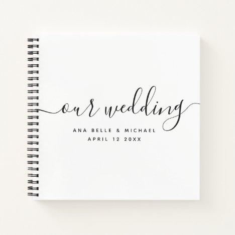 Modern Minimal Elegant Calligraphy Wedding Guest Notebook