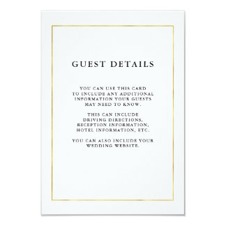 Modern Minimal | Faux Gold Border Guest Details Card