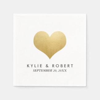 Modern Minimal Faux Gold Foil Cute Heart Wedding Paper Napkin