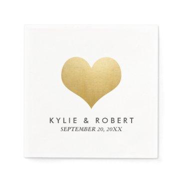 wedding_trends_now Modern Minimal Faux Gold Foil Cute Heart Wedding Paper Napkin