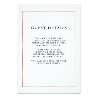 Modern Minimal Faux Rose Gold Border Guest Details Card