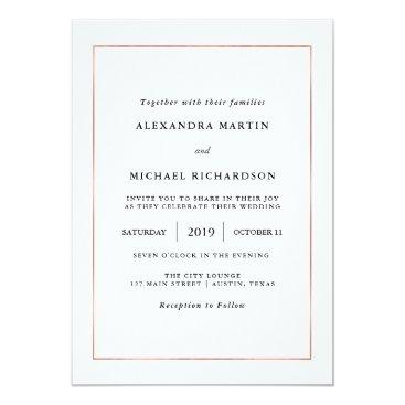 Customize_My_Wedding Modern Minimal | Faux Rose Gold Border Wedding Card