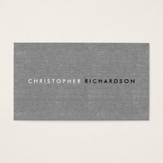 Modern & Minimal On Gray Linen Business Card at Zazzle