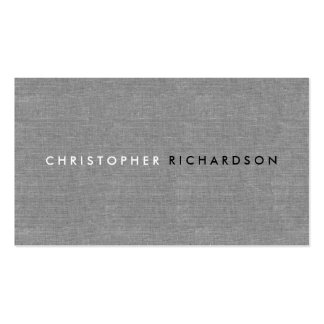 MODERN & MINIMAL on GRAY LINEN Double-Sided Standard Business Cards (Pack Of 100)