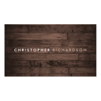 MODERN & MINIMAL on RUSTIC BROWN WOOD Double-Sided Standard Business Cards (Pack Of 100)