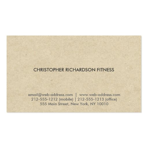 MODERN & MINIMAL on TAN CARDBOARD Business Card Template (back side)