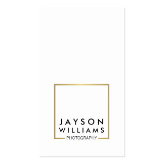Modern Minimal Photographer Gold Square Logo I Business Card