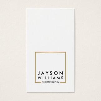 Modern Minimal Photographer Gold Square Logo I Business Card