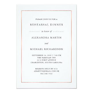 Modern Minimal | Rose Gold Border Rehearsal Dinner Card