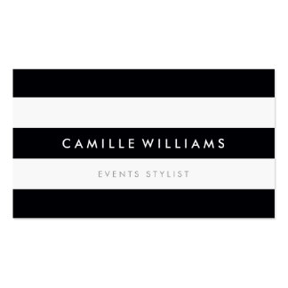 MODERN MINIMAL stripe pattern bold black white Business Card