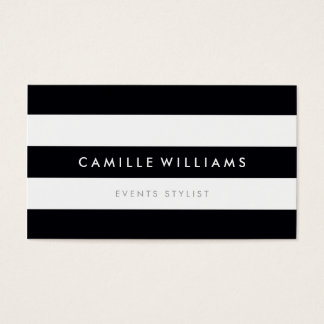 MODERN MINIMAL stripe pattern bold black white Business Card