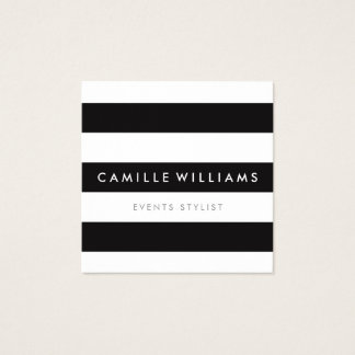 MODERN MINIMAL stripe pattern bold black white Square Business Card