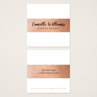 MODERN MINIMAL stripe pattern luxe faux rose gold Square Business Card