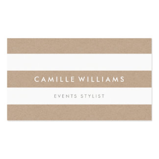 MODERN MINIMAL stripe pattern natural kraft white Double-Sided Standard Business Cards (Pack Of 100)