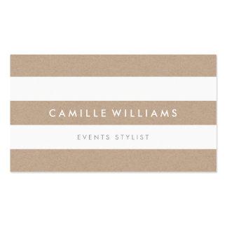 MODERN MINIMAL stripe pattern natural kraft white Business Card