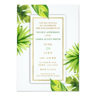 Modern Minimal Tropical Green Leaves Engagement Invitation