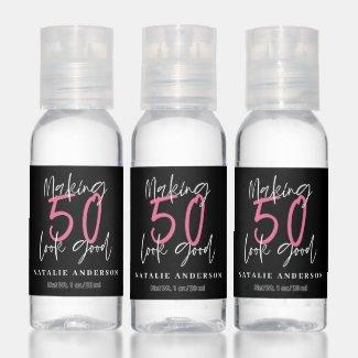 Modern minimal typography 50th birthday hand sanitizer