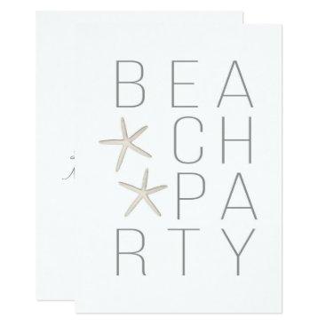 Beach Themed Modern Minimal White Grey Beach Party Invitation