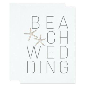 Beach Themed Modern Minimal White Grey Beach Wedding Invitation