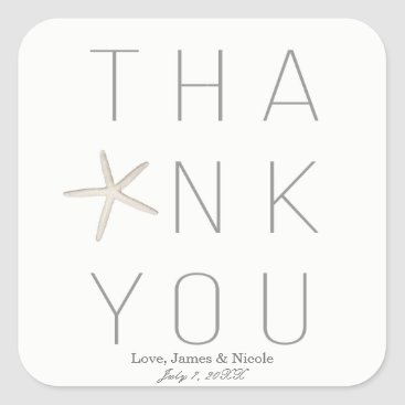 Beach Themed Modern Minimal White Grey Beach Wedding Thank You Square Sticker