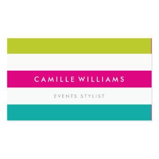 MODERN MINIMAL wide stripe pattern bright colorful Business Card