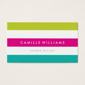 MODERN MINIMAL wide stripe pattern bright colorful Business Card