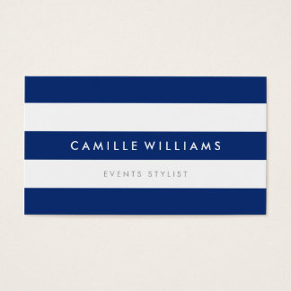 MODERN MINIMAL wide stripe pattern navy blue white Business Card