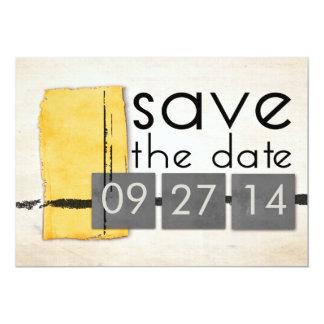 Modern Minimalism Yellow  Gray Save the Date Card