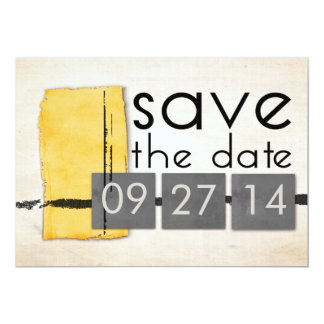 Modern Minimalism Yellow  Gray Save the Date Personalized Announcement