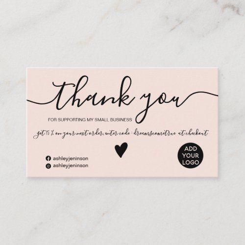 Modern minimalist black and blush order thank you business card
