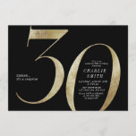 """Modern minimalist black and gold 30th birthday invitation<br><div class=""""desc"""">Modern minimalist 30th birthday party invitation features stylish faux gold foil number 30 and your party details in classic serif font on black background color, simple and elegant, great surprise adult milestone birthday invitation for men and women. the black background color can be changed to any color of your choice....</div>"""
