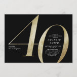 """Modern minimalist black and gold 40th birthday invitation<br><div class=""""desc"""">Modern minimalist 40th birthday party invitation features stylish faux gold foil number 40 and your party details in classic serif font on black background color, simple and elegant, great surprise adult milestone birthday invitation for men and women. the black background color can be changed to any color of your choice....</div>"""
