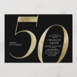 """Modern minimalist black and gold 50th birthday invitation<br><div class=""""desc"""">Modern minimalist 50th birthday party invitation features stylish faux gold foil number 50 and your party details in classic serif font on black background color, simple and elegant, great surprise adult milestone birthday invitation for men and women. the black background color can be changed to any color of your choice....</div>"""
