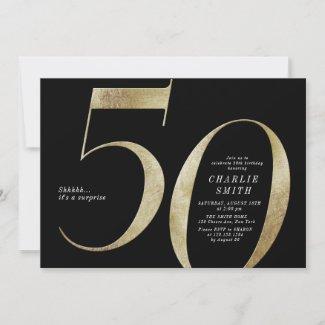 Modern minimalist black and gold 50th birthday invitation