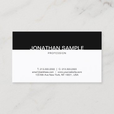 Modern Minimalist Black And White Clean Elegant Business Card