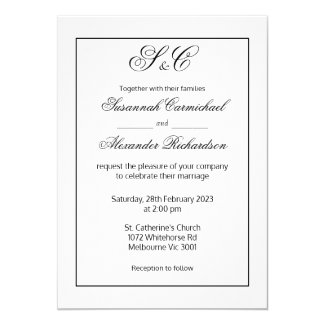 Modern Minimalist Black and White Monogram Wedding Invitation