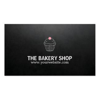 Modern Minimalist Black Cupcake Pink Candy Baker Business Card