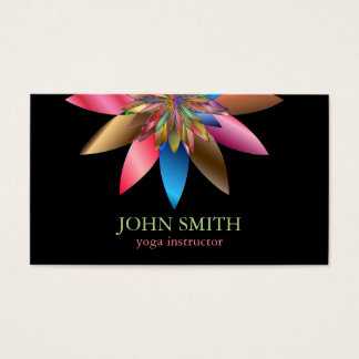 Modern Minimalist Black Lotus Yoga Instructor Business Card
