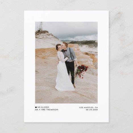 Modern Minimalist Black Photo Wedding Elopement Announcement Postcard
