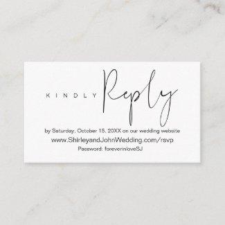 Modern Minimalist, Black Script, Online RSVP Enclosure Card