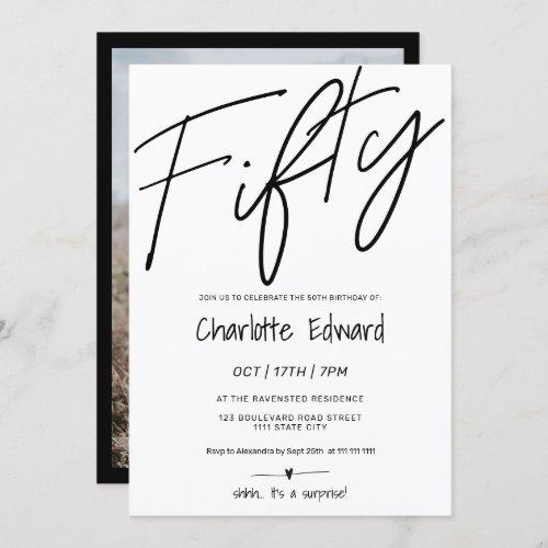 Modern minimalist black white photo surprise fifty invitation