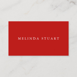 Modern Minimalist Chic Red Business Card