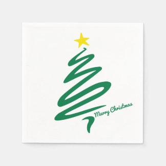 Modern & Minimalist Christmas Tree Swoosh Paper Napkin