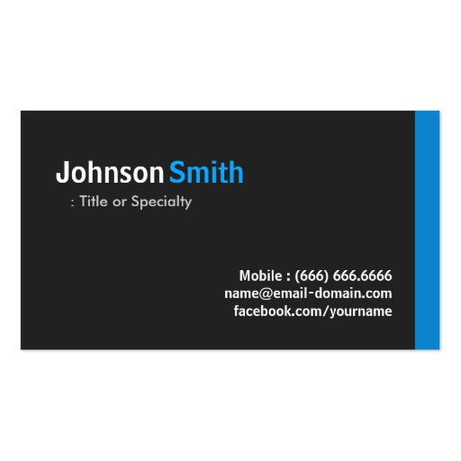 Modern Minimalist - Clean Black and Blue Business Cards