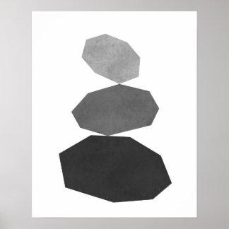 Modern minimalist geometric pebble art print