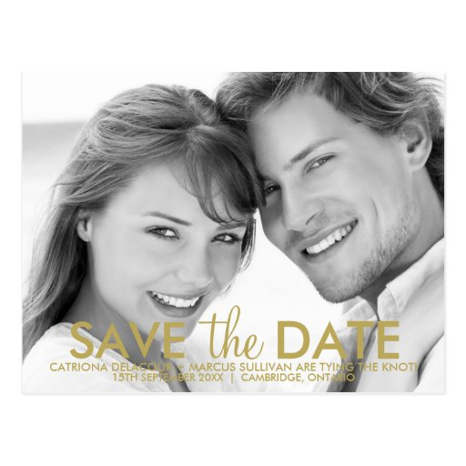 Modern Minimalist Gold Save the Date Postcard