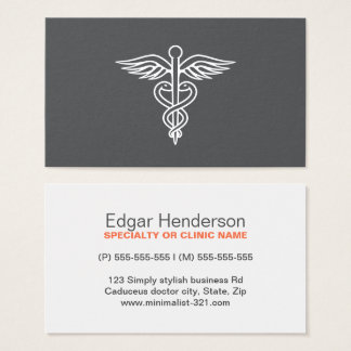 Modern minimalist gray medical doctor caduceus business card