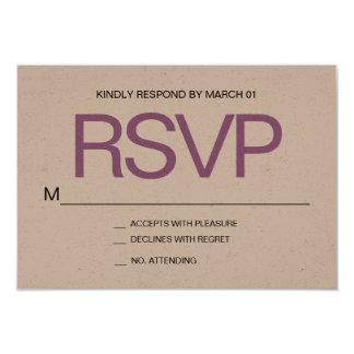 Modern Minimalist Kraft RSVP Wedding Response Card
