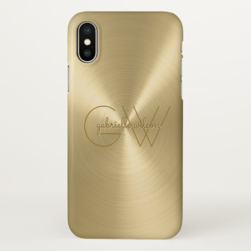Modern Minimalist Ladies Monogram Luxury Gold Phone Case